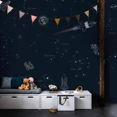criativas quartos masculino 5 inspirerende tips voor kinderkamer behang - Karwei Space Wallpaper, Kids Wallpaper, Photo Wallpaper, Temporary Wallpaper, Kid Spaces, Space Kids, Space Theme, Modern Kids, Kids Room Design