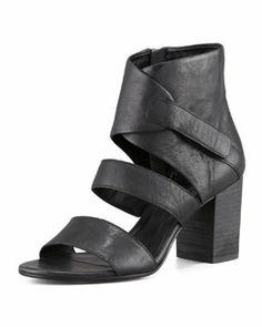 X1ZCZ Eileen Fisher Tier Leather Ankle-Wrap Sandal, Black