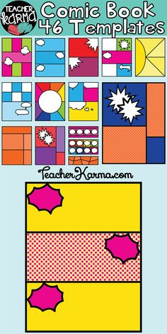 Comic Book / Comic Strip Templates. Perfect for classroom resources and Teachers Pay Teachers sellers. TeacherKarma.com Comic Book Layout, Comic Book Pages, Comic Books, Comic Strip Template, Comic Strips, Writing Lab, Writing A Book, Teacher Comics, Create Your Own Comic