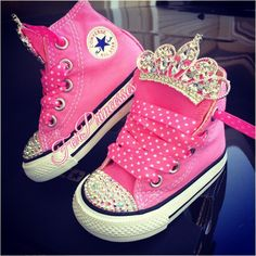 First birthday shoes pink Princess bling Converse by ForPrincesses, $54.99