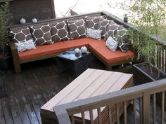 DIY this sectional for deck or patio. Simple yet Beautiful!