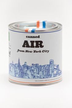Canned Air From New York City. Air Formula: 20% Empire State Building 10% Grand Central Terminal 10% Chrysler Building 20% Statue of Liberty 10% Little Italy, Chinatown 10% Brooklyn Bridge 10% Times Square 10% Central Park. Fresh air from NYC relieves stress, cures homesickness