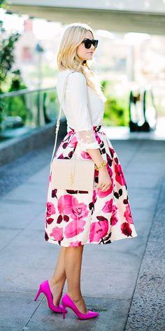 Pretty in Pink Florals. Midi skirt with  fuchsia lowers. Fuchsia stilettos and white shirt.