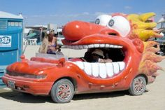 Image detail for -strange car that looks like a red cartoon person with an open mouth