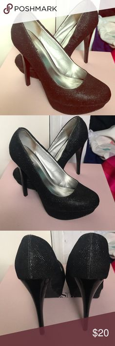 "Black Shimmer Pumps Black shimmer, platform pumps. Great condition just a few scuffs (rips) shown in pics. Heel height 5.25"". Platform height 1.25"".  Ps.... super durable, survived a fall down an escalator :) Charlotte Russe Shoes Heels"