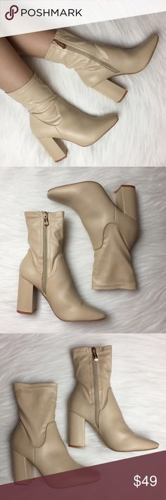 """Nude Faux Leather High Ankle Boots Comfy and chic nude faux leather booties, stretches out to fit your leg shape. Has a thick heel style, almond toe and a side zipper closure. Fits true to size. Heel height is 3.80"""". Wear them with your favorite jeans, mini dress, midi dress, leggings, shorts or just about anything! Color: Nude/Biege Shoes Ankle Boots & Booties"""