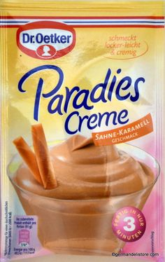 """The """"Dr.Oetker Paradise Cream - Cream Caramel"""" is a delicious dessert that delights the whole family. A dessert for every day that tastes light and creamy. A truly heavenly pleasure. Tip: The paradise cream can be refined with. New Recipes, Vegan Recipes, Snack Recipes, Snacks, Sweet Desserts, Delicious Desserts, Dessert Glasses, Cream Cream, Mixed Drinks"""