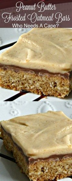 Amazing Peanut Butter Frosted Oatmeal Bars with 3 layers of goodness. Cookie base, chocolate center & cream cheese peanut butter frosting!   Who Needs A Cape? #dessert #baking #peanutbutter #oatmeal #bar #chocolate #holidaybaking