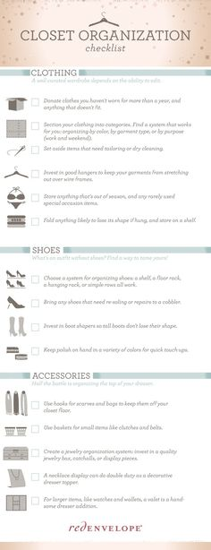 The Organized Closet Checklist via The Red Envelope