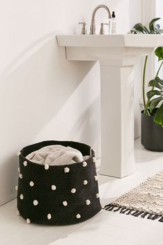 Slide View: 1: Lorena Canals Pebble Pom Laundry Basket