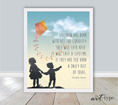 Children's Print, Born with Curiosity INSTANT DOWNLOAD Printable, Silhouette Print, Watercolor Print, Charlotte Mason, Homeschool Art, DIY