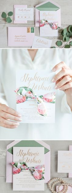 A romantic floral ribbon wedding invitation with blush roses, accented by touches of gold and eucalyptus green. Wedding Invitation by Penn & Paperie Photo by Heather Baker Photography: