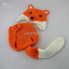 Fashion New style Handmade Crochet Baby Fox hat and shorts Newborn photography props cap Children Co