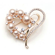 Beautiful Jewelry Pearl Heart Brooch Corsage Love Rhinestone Pin Brooch 800403 $3.50