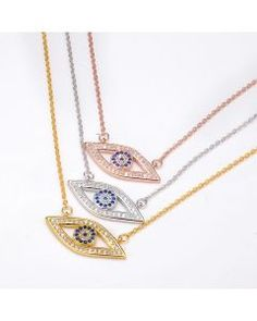 Silver 925 Necklace with Evil Eye Pendant and CZ
