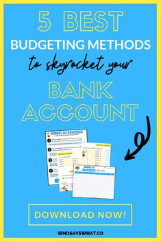 Want to be better with money and skyrocket your bank account? These are the 5 best budgeting methods to save money, stop poor spending habits, and more. The best budgeting methods, such as Budget Tracking, Budget Binder, Monthly Budget, Budgeting Finances, Budgeting Tips, Budgeting Worksheets, Savings Plan, Best Budget, Budget Plan
