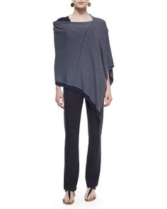 -5Y0M Eileen Fisher  Cozy Stretch Striped Poncho  Slubby Short-Sleeve Scoop-Neck Tee, Midnight  Stretch Jersey Yoga Pants