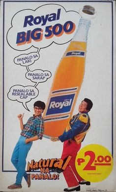 Introductory Promotional Poster of Royal Tru Orange Big 500 with an actual bottle,series 80s Ads, Old Advertisements, Retro Ads, Vintage Comics, Vintage Ads, Vintage Posters, Vintage Graphic Design, Graphic Design Posters, Print Ads