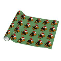 Funny Turtle in Santa Hat Christmas Art Gift Wrapping Paper #Christmas #turtle #wrapping #paper #art And www.zazzle.com/tickleyourfunnybone*