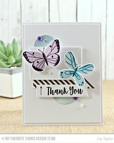 Hi thereToday we share more creations from the February Card Kit from MFT..I hope you have enjoyed what you have viewed from the DT so far, even if mine really are not up to the norm from me..Today's card I went with a little collage effect, stamping out my butterflies with…