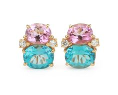 Medium 18kt Yellow Gold GUM DROP™ earrings with bright pink topaz (approximately 2.5 cts each), bright blue topaz (approximately 5 cts each), and 4 diamonds wei