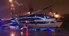 Night-show on the Jules Verne Party Ship