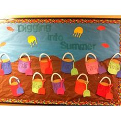 """digging into summer"" bulletin board I made for Summer!"