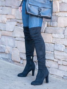 Black Suede Sam Edelman 'Kent' over-the-knee boots. Stretchy and