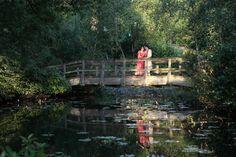 Stunning image of wedded couple on wodden bridge over a pond. Chic Wedding, Wedding Day, Outdoor Weddings, Wedding Images, Countryside, Pond, Wedding Venues, Bridge, England