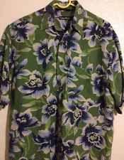 Nautica Mens Hawaiian Shirt Small Blue Green Linen Beach Wear