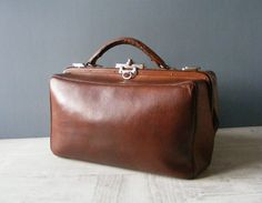 French Antique Brown Leather Doctor Bag . by GrisSourisBrocante