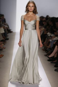 Taylor. Metallic grey evening dress with gorgeous twisted bodice and embellished cap sleeves. Reem Acra Spring 2008 http://madeforprincess.com.sg/Taylor.php
