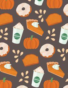 Food Patterns - Illustration & Design by Niki Sauter Thanksgiving Wallpaper, Holiday Wallpaper, Halloween Wallpaper, Halloween Backgrounds, Cute Backgrounds, Cute Wallpapers, Wallpaper Backgrounds, Cute Fall Wallpaper, Pumpkin Wallpaper