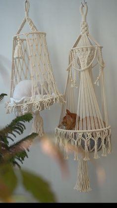 Homemade Cat Beds, Macrame Design, Macrame Art, Cat Wall Furniture, Diy Cat Tree, Diy Hammock, Idee Diy, Macrame Projects, Macrame Tutorial
