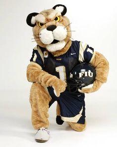 FIU - Florida International University Golden Panthers - Roary with football helmet, costumed mascot