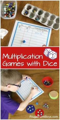 Multiplication games with dice. Math Activities For Kids, Learning Games For Kids, Math For Kids, Division Activities, Hands On Learning, Kids Fun, Fun Multiplication Games, Fun Math Games, Lattice Multiplication