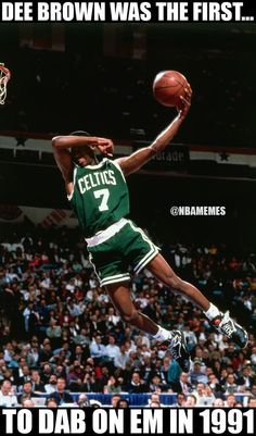 Dee Brown of the Boston Celtics goes up for slam dunk during the Slam Dunk Contest in the 1991 NBA All-Star Week on February 1991 at Charlotte Coliseum in Charlotte, North Carolina. Funny Nba Memes, Funny Basketball Memes, Basketball Is Life, Football Memes, Basketball Players, Basketball Stuff, Celtics Basketball, Nfl Memes, Basketball Quotes
