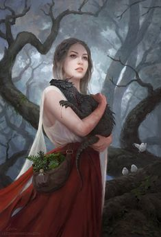 """Artist Leesha Hannigan often delves into fantasy realms in her work, but we especially love this touching image of a girl holding her dragon. The piece, titled """"The Quiet of a Beating Heart… Fantasy Inspiration, Character Inspiration, Character Art, Writing Inspiration, Fantasy World, Dark Fantasy, Fantasy Queen, Fantasy Princess, Elfen Fantasy"""