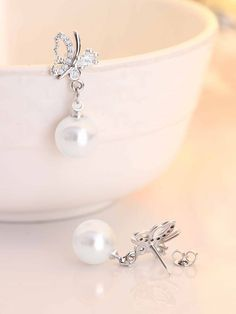 Carat Pear and Round Diamond Butterfly and Pearl Earrings in White Gold Diamond Bracelets, Diamond Jewelry, Diamond Earrings, Pearl Earrings, Diamond Simulant, Best Diamond, Eternity Ring, Stock Clearance, Clearance Sale