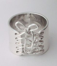 Sterling Silver Wide Band Corset Ring