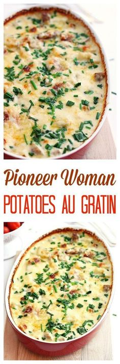 Pioneer Woman's potatoes au gratin recipe Potatoes au gratin loaded with cheese, cream and garlic. An easy no fuss no mess delicious weeknight meal. (and the perfect side dish to your holiday meal) Side Dish Recipes, Vegetable Recipes, Dinner Recipes, Potato Recipes, Dinner Ideas, Potato Side Dishes, Vegetable Side Dishes, Easter Side Dishes, Pioneer Woman Potatoes
