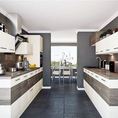 Contemporary streamlined galley kitchen | Galley kitchens | Kitchen design ideas | PHOTO GALLERY | Beautiful Kitchens | Housetohome.co.uk