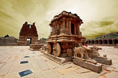 This was the capital of the Hindu empire,Vijayanagara, who ruled the south India during 14th to 16th century AD.  Hampi is located in Karnataka state , a southwestern province of India. It's about 350 kilometers (217 miles) north of Bangalore, the state capital.  info from: http://hampi.in/hampi
