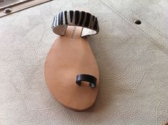 leather handmade sandal  with a black strap by chicbelledejour