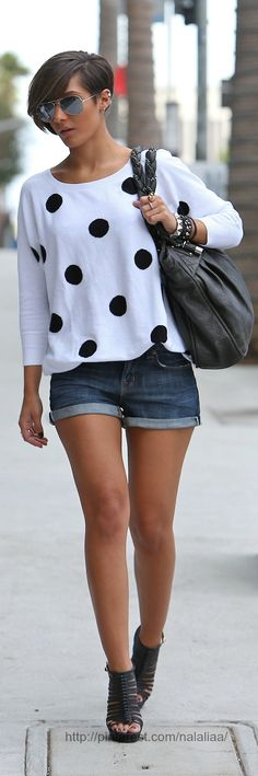 Black and white polka dots.