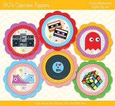 Digital Clipart  80's Cupcake Toppers printable by funkymushrooms, €2.80