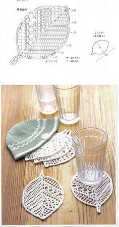 Pretty leaf coasters, from Sandra Pontos   . . . .   ღTrish W ~ http://www.pinterest.com/trishw/  . . . .   #crochet #motif