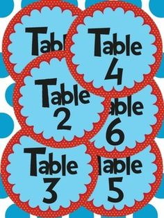 Dr. Seuss Theme- Table Numbers