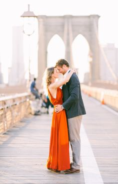 A love story for the movies: http://www.stylemepretty.com/new-york-weddings/new-york-city/brooklyn/dumbo-brooklyn/2015/04/20/modern-brooklyn-bridge-engagement-shoot/ | Photography: Kat Harris - http://www.katharrisweddings.com/
