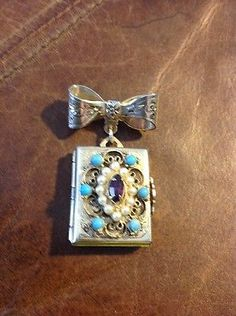 Vintage CORO Photo Album Faux Turquoise/Pearls Brooch/Pin